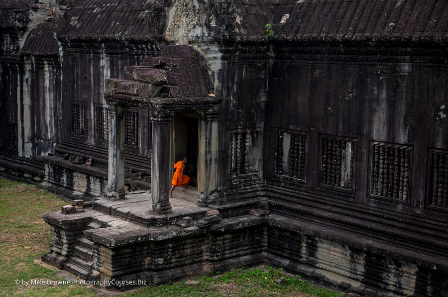 Buddhist Monk at Angkor Wat by Mike Browne on 500px.com