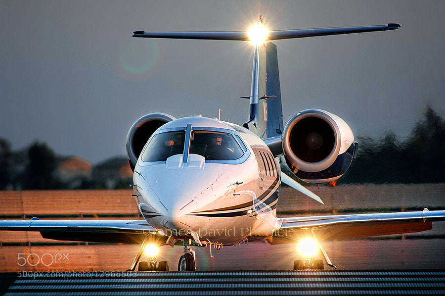Bombardier Aerospace Learjet 60 ready to take runway for departure.   ©2012 James David Phenicie.  All Rights Reserved.