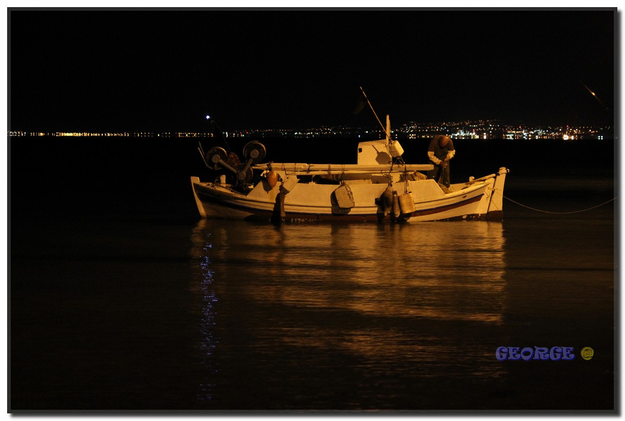 Photograph Fishing boat in Neoi Epivates Thermaikos by night  by George @  on 500px