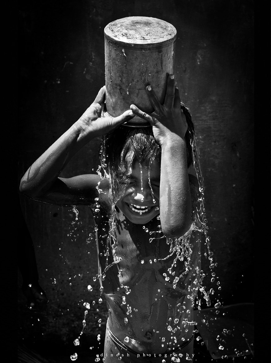 Photograph A happy bath by dinesh babu on 500px