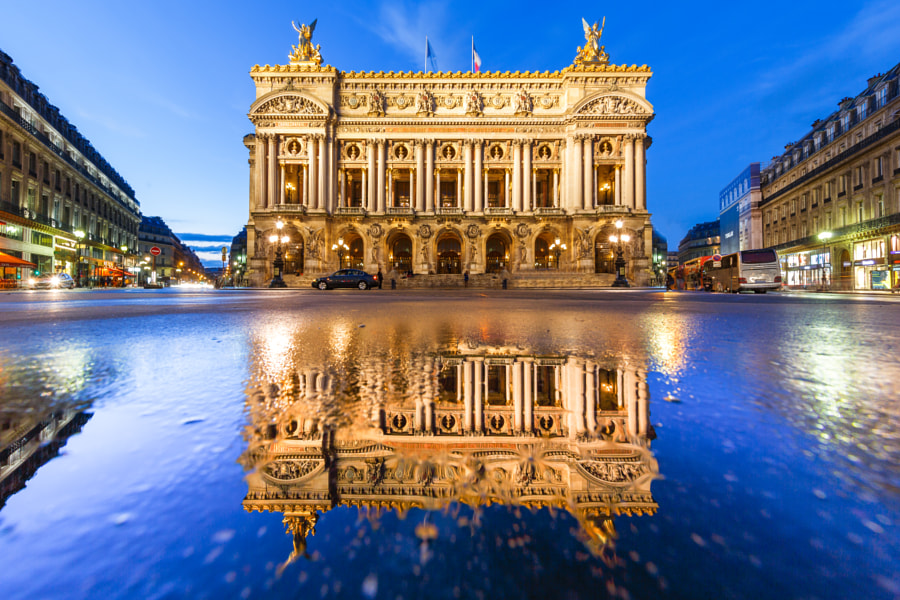Opera Garnier Paris Puddle Mirror by night