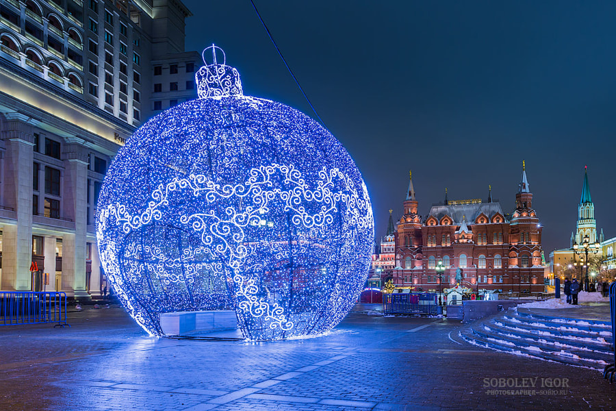 Large Christmas tree toy on Manezh Square in Mosco by Igor Sobolev on 500px.com
