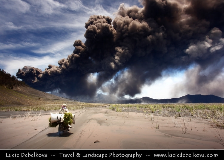 Photograph Indonesia - Java Island - Inside Large Caldera under Volcanic Ash Cloud in Bromo-Tengger-Semeru Nati by Lucie Debelkova -  Travel Photography - www.luciedebelkova.com on 500px