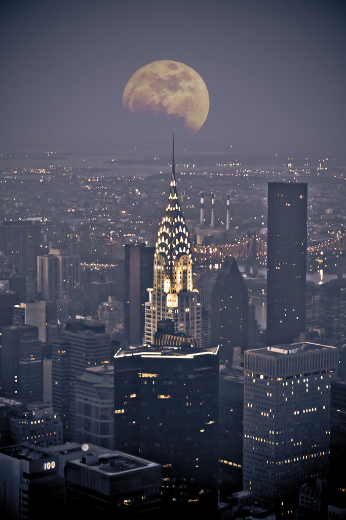Photograph Chrysler building with moon view at night by Pushkar G.  on 500px