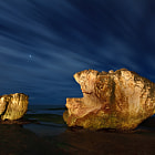 """This was shot the morning after <a href=""""http://www.flickr.com/photos/xenedis/3621170939""""><i>Two</i></a>.  This time I painted these giant rocks with my 6D Maglite in total darkness, painting the rocks for two minutes out of the five minutes for which this image was exposed."""