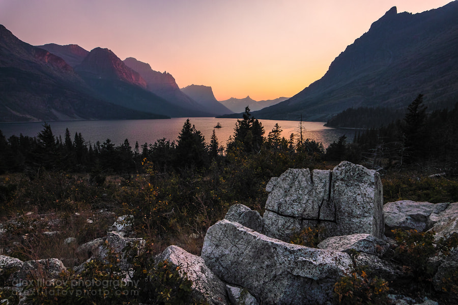 Photograph Dusk at Saint Mary Lake by Alex Filatov | alexfilatovphoto.com on 500px