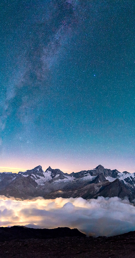 Photograph Zinalrothorn and Obergabelhorn under the stars by Gilles Monney on 500px