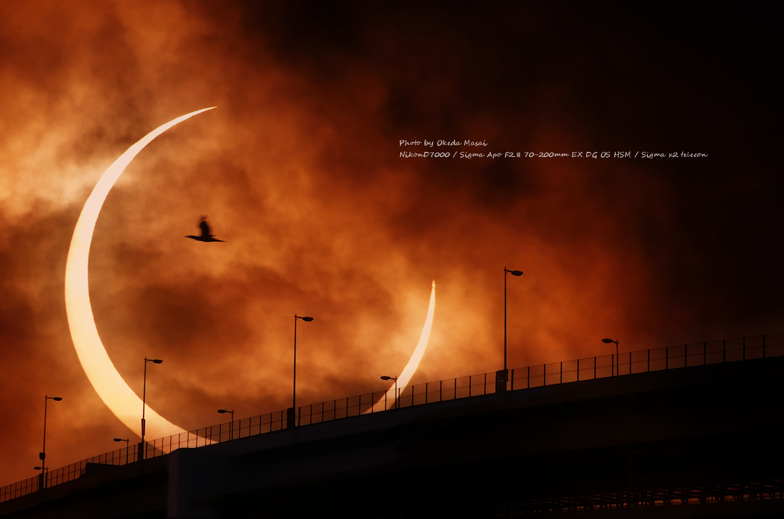 Photograph Treason of the moon (composite picture using the annular solar eclipse in tokyo 2012..5.22) by Masai Okeda on 500px