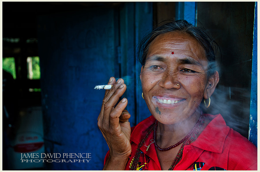 Nepal Series: Woman smoking a Cigarette
