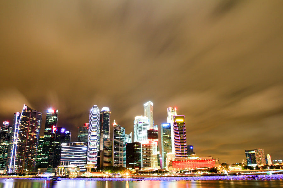 Marina Bay Singapore Long Exposure Nightscape