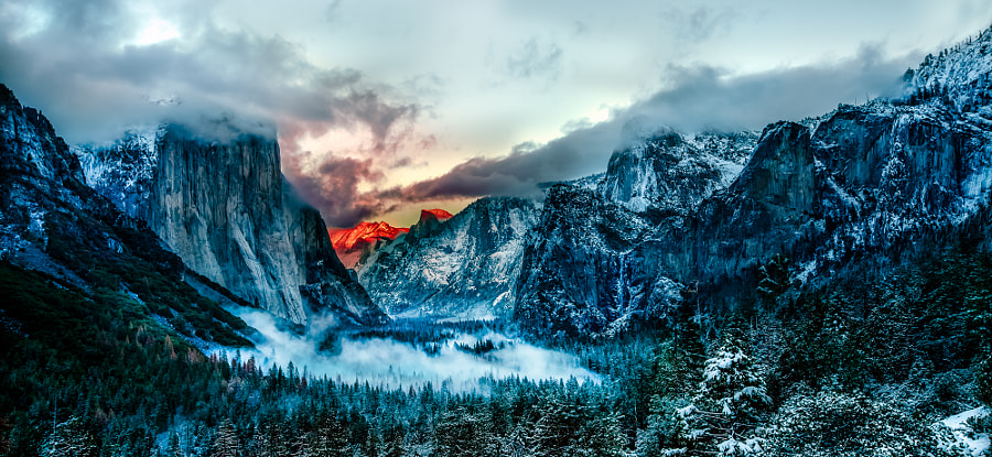 Tunnel View-Fire de Angela Chong en 500px.com
