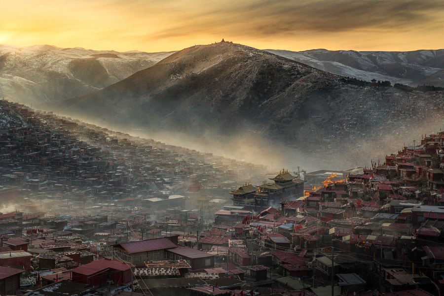 Larung Gar in Golden Hour by Yuichi Sahacha on 500px.com