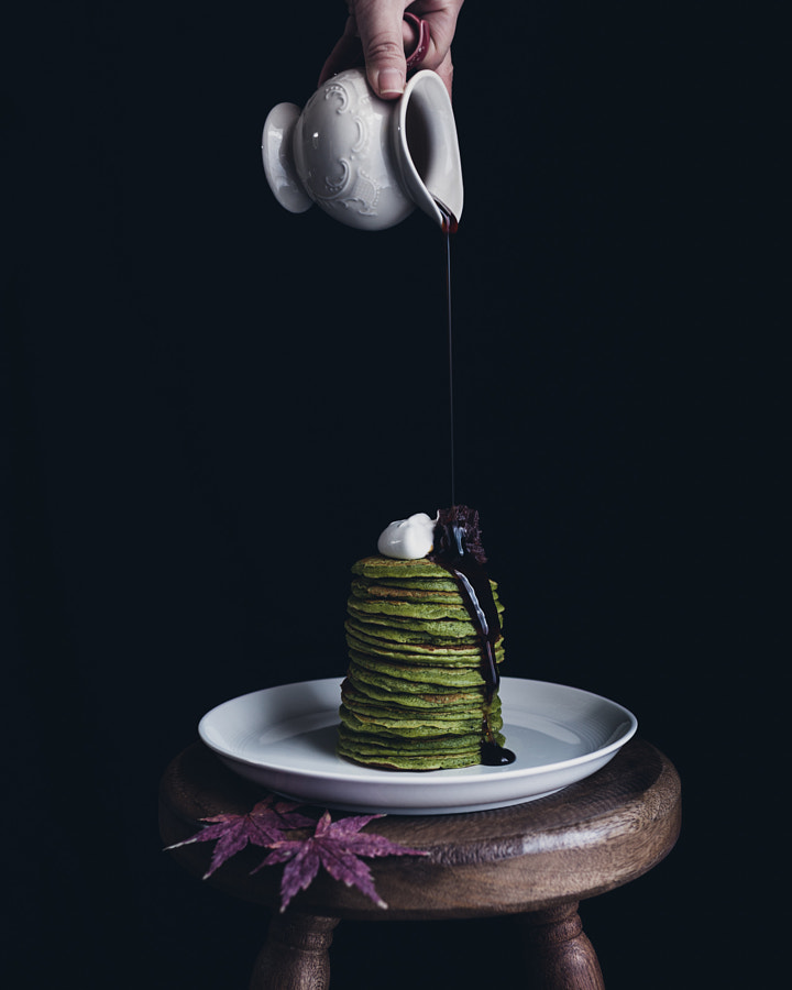 matcha pancakes w/ brown sugar syrup. by Miki Fujii on 500px.com