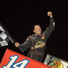 Tony Stewart winning his first career World of Outlaw sprint car race at Ohsweken Speedway.