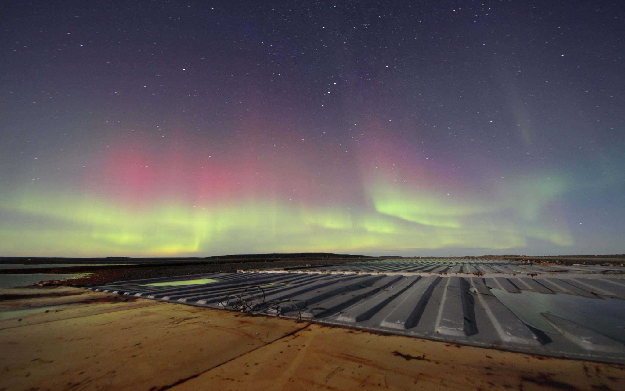 Photograph Containers and northern lights by Benoît Turcotte on 500px