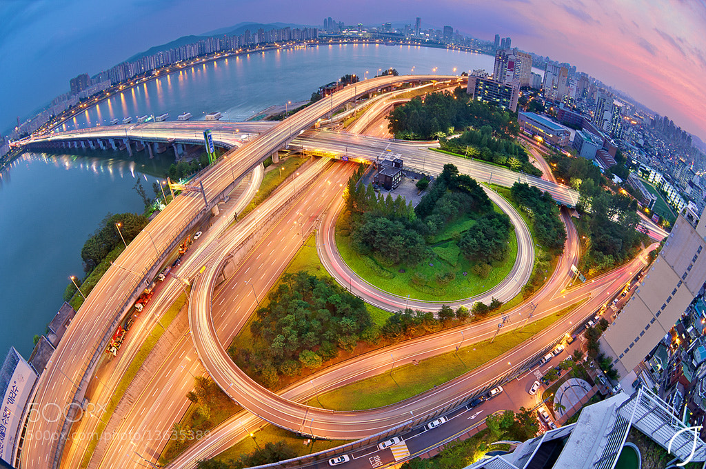 Photograph 잠실대교북단IC Jamsil Bridge North IC Fisheye by Romain John on 500px