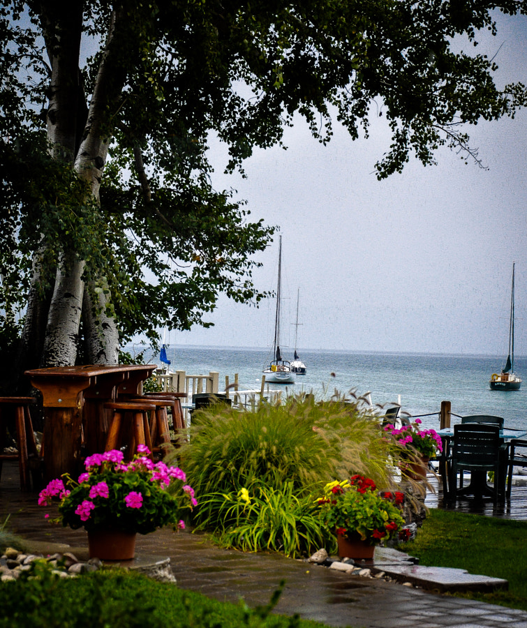 The view from the open French doors of Apache Trout Grill in Traverse City, Michigan, on a rainy September afternoon.