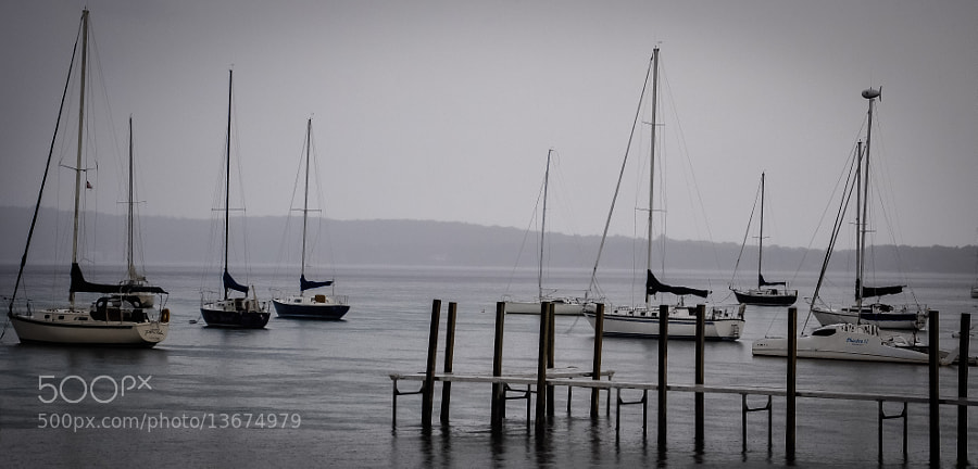 Grand Traverse Bay on a rainy Friday afternoon in September.