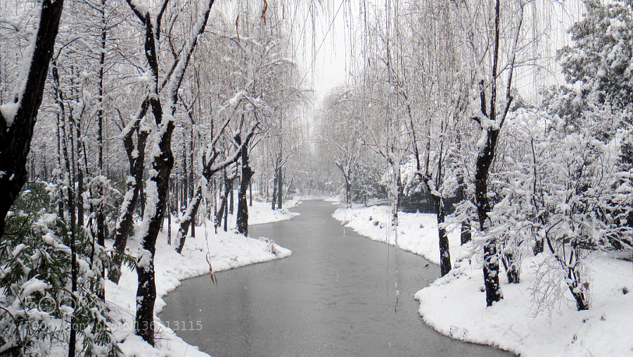 Snow with icing river