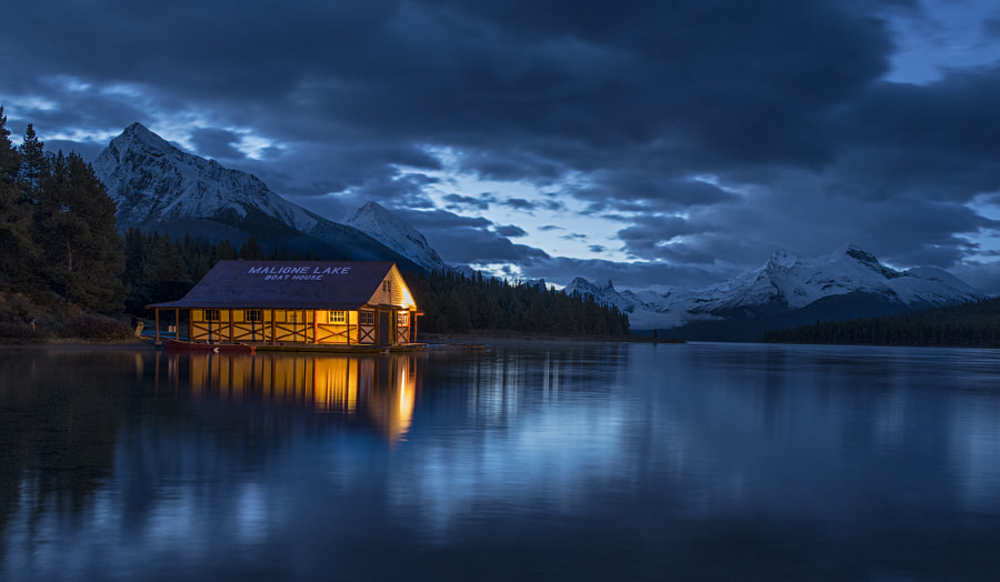 Blue Hour On Maligne Lake by William McIntosh on 500px.com