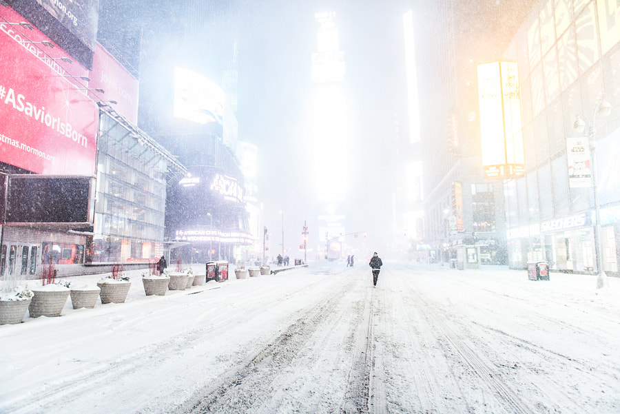 Time Square in the Snow by Grant Friedman on 500px.com