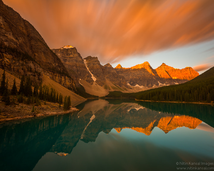 Photograph Dawn Light before snow storm at Moraine Lake by Nitin Kansal on 500px