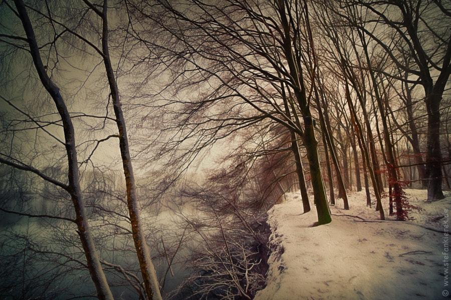 Schnee am Ufer
