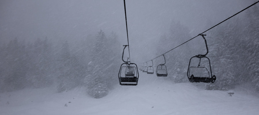 Chair lift in winter storm by Dirk Plate on 500px.com