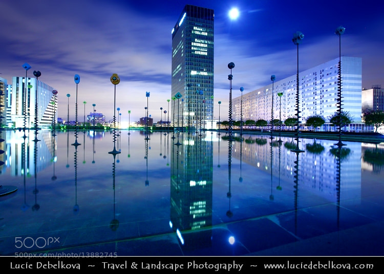 Photograph France - Paris - Esplanade de la Défense - Bassin Takis - French Sci-Fi During Full Moon by Lucie Debelkova -  Travel Photography - www.luciedebelkova.com on 500px