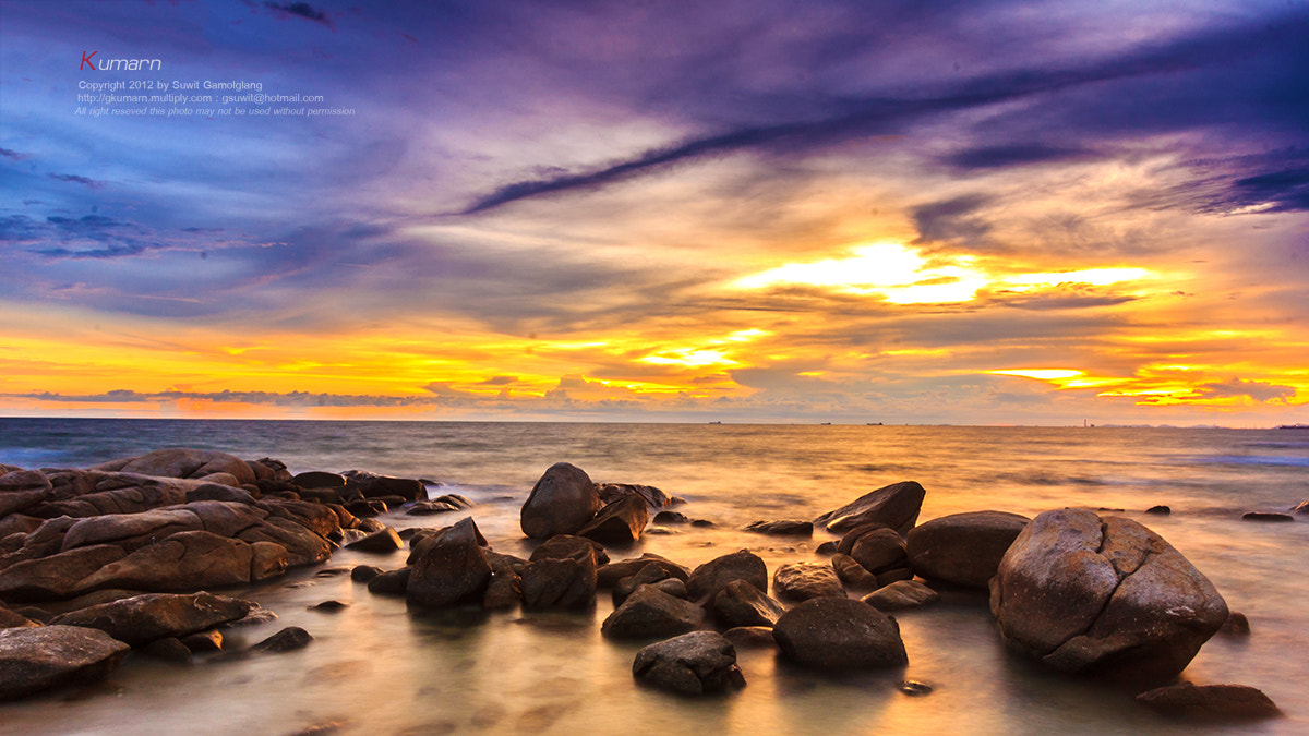 Photograph Rock beach sunset by Suwit Gamolglang on 500px