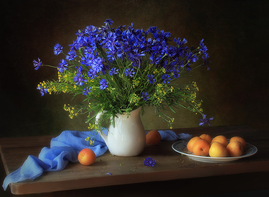Still life with cornflowers and apricots, автор — Tatiana Skorokhod на 500px.com