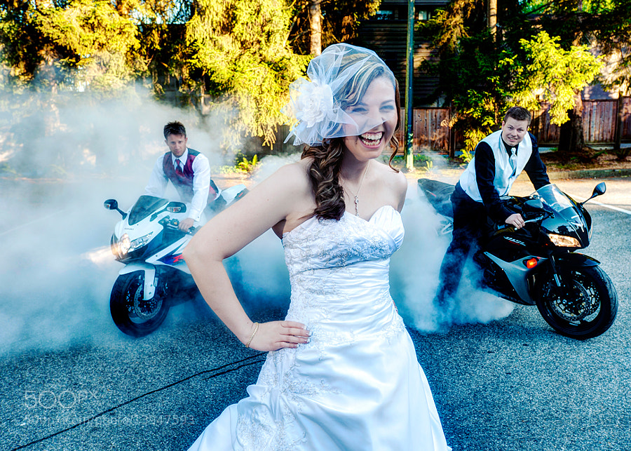 Photograph Bride and spinning bike tires by Jozef Povazan on 500px