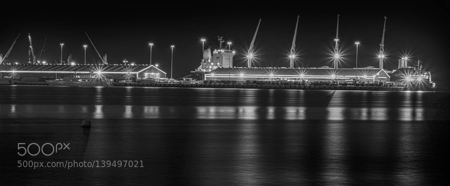 Shipping dock in black and white