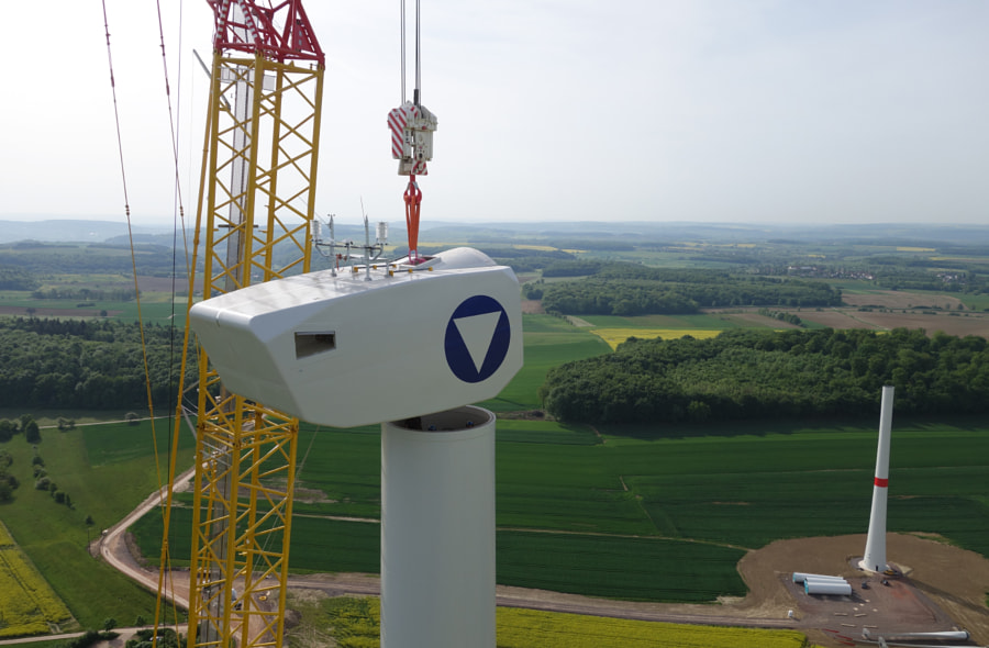 Installation of wind turbine in Germany. Aerial view.