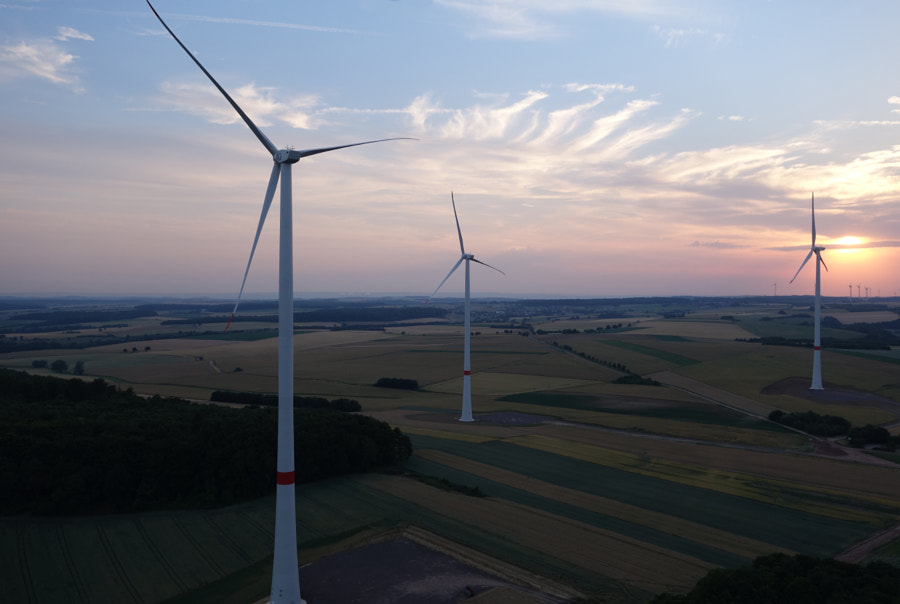 Wind turbine in Germany. Aerial view.