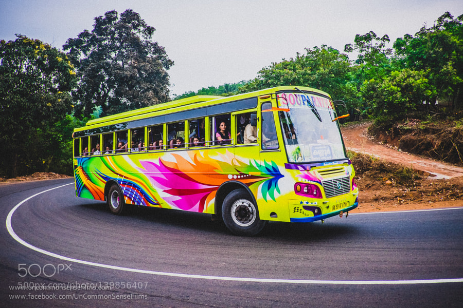 Colourful speeding bus of Kannur.