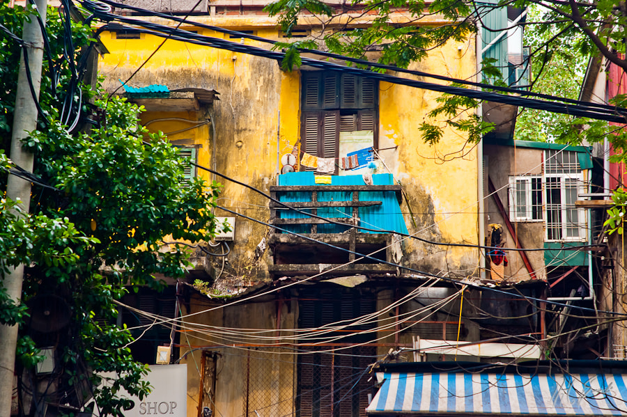 a balcony in Hanoi..