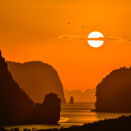Beautiful Sunrise between mountain in phang nga