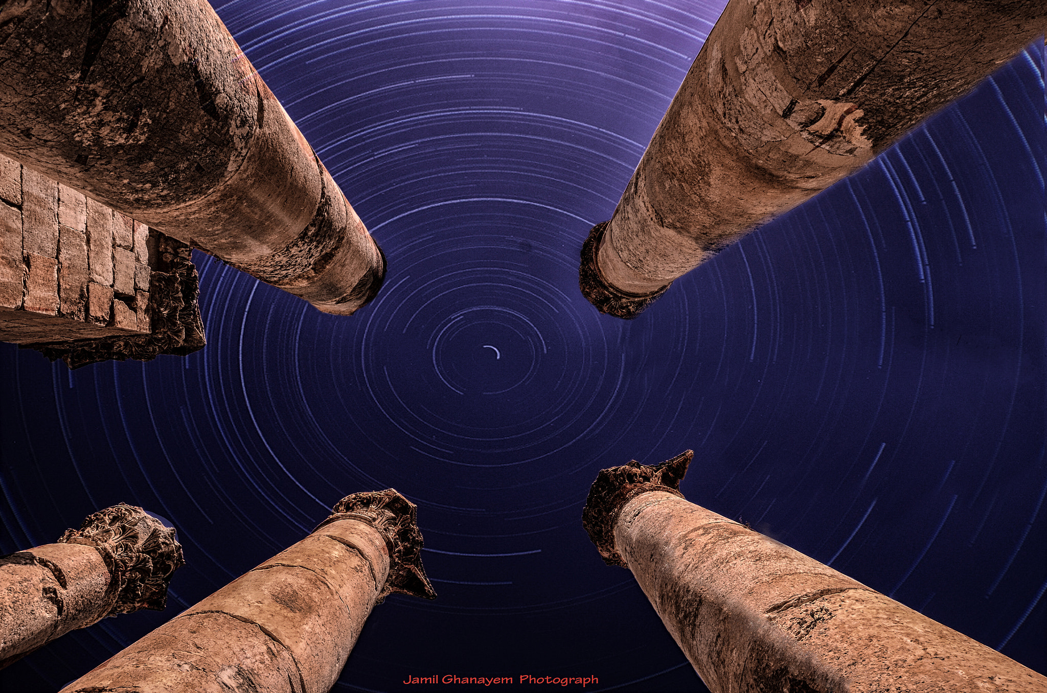 Photograph Gerasa Columns Trails  by jamil ghanayem on 500px