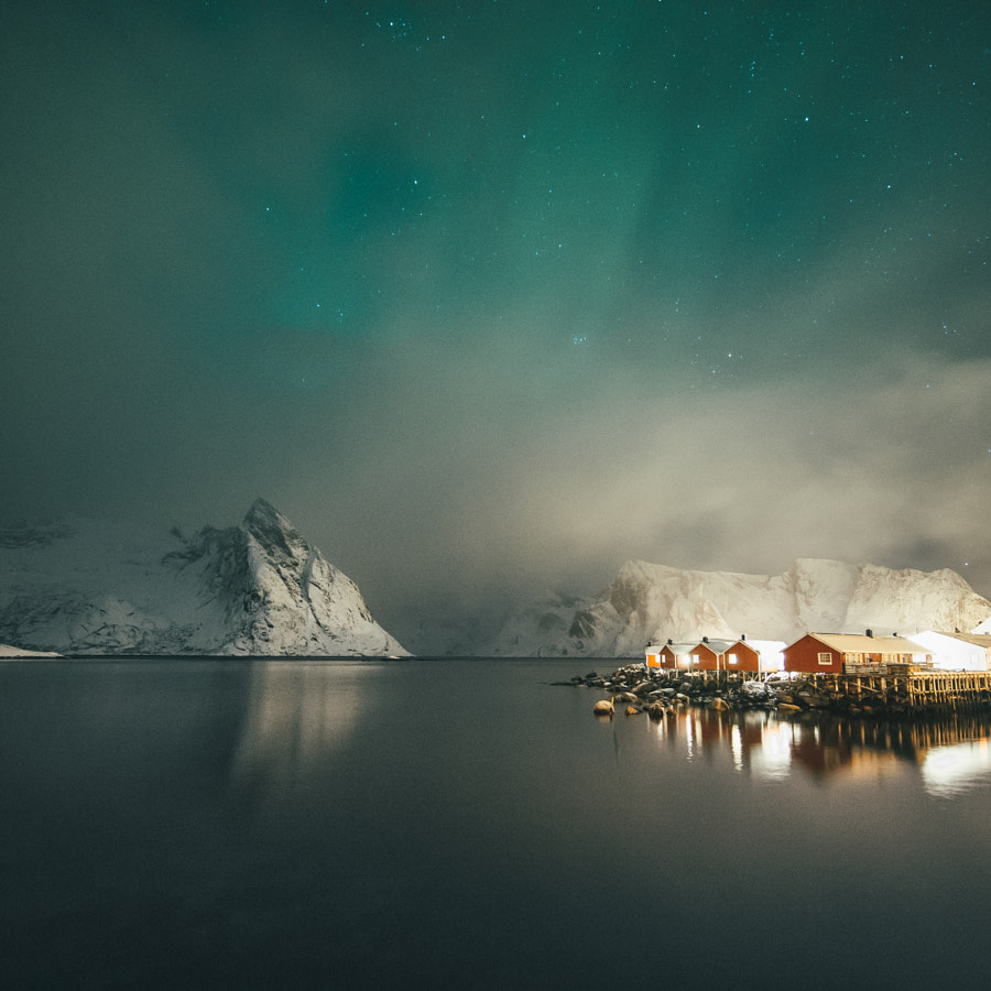 Peeking Northern Lights In The Lofoten Islands by Dylan Furst on 500px.com