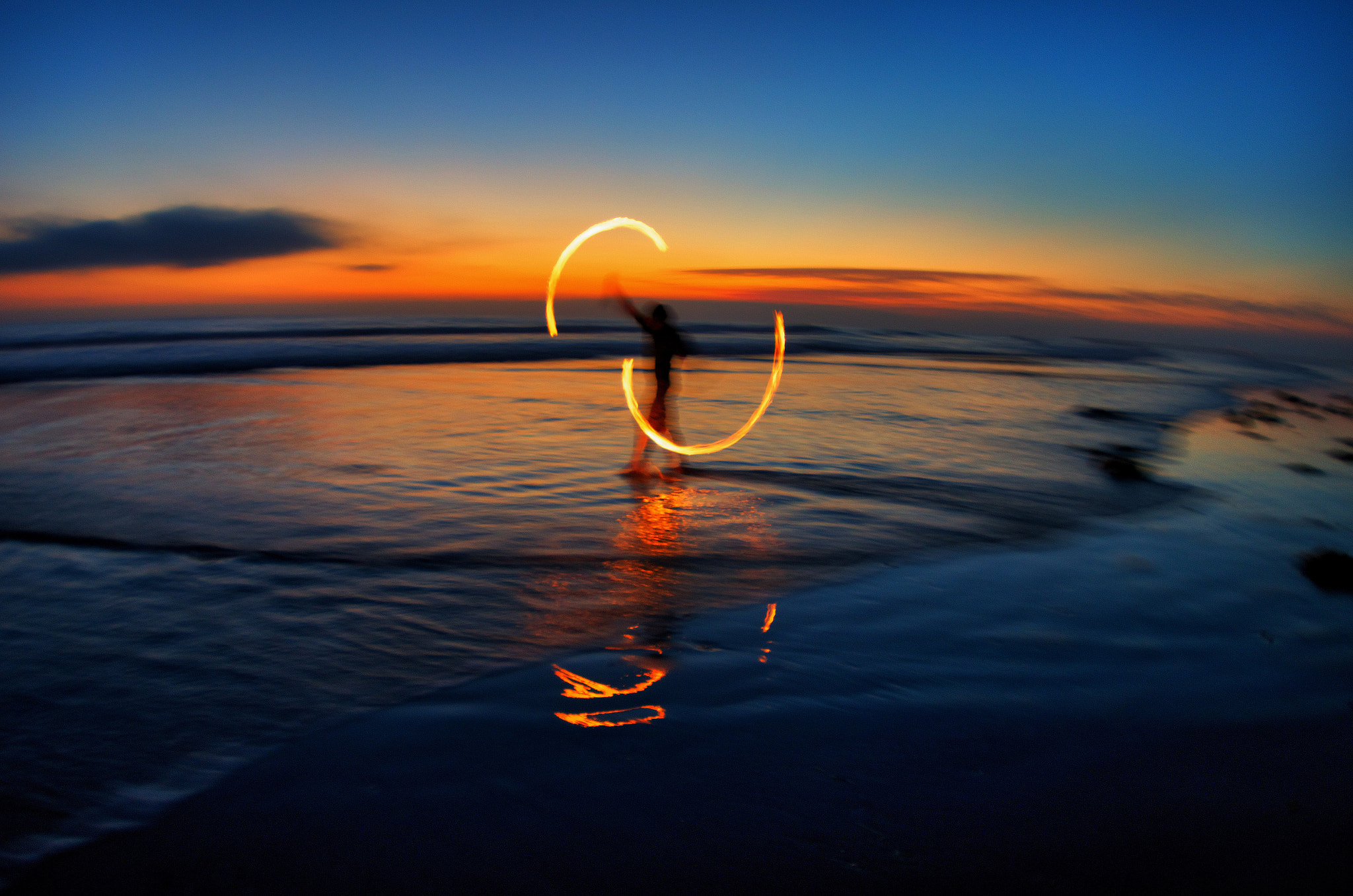 Photograph Fire Poi on the Beach In Oceanside. - September 17, 2012 by Rich Cruse on 500px