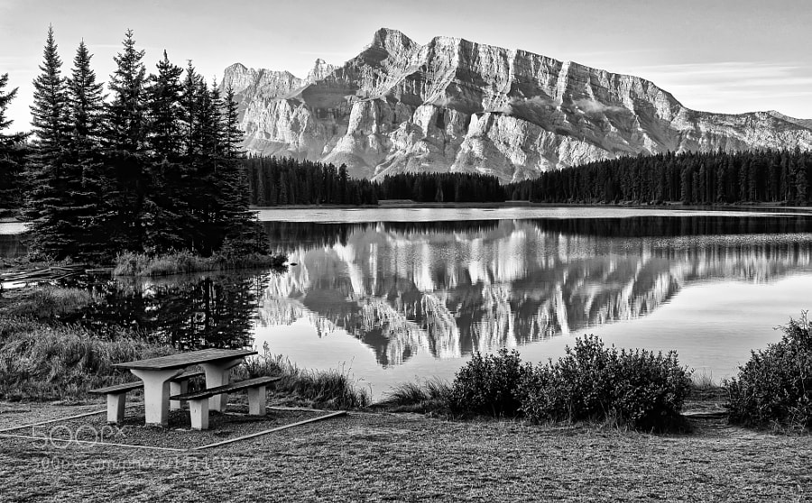Photograph Two Jack Lake Reflection by Jeff Clow on 500px