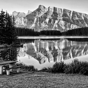Two Jack Lake Reflection by Jeff Clow (jeffclow)) on 500px.com