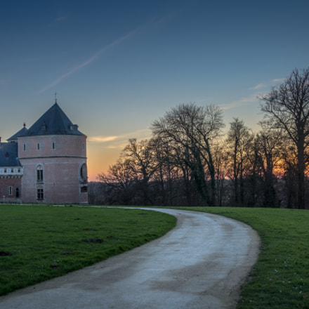 Castle of Gaasbeek, sunset.