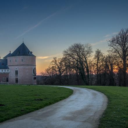Castle of Gaasbeek, sunset.