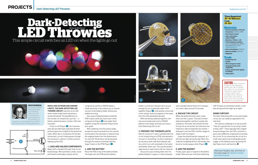 Make: Issue 47 - Dark-Detecting LED Throwies