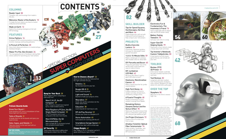 Make: Issue 49 - Table of Contents