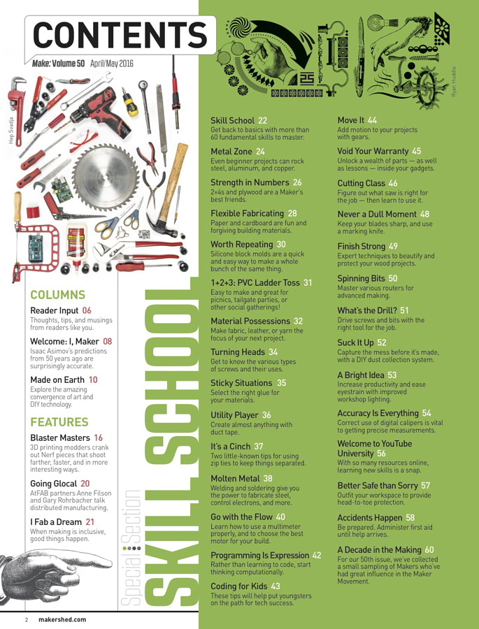 Make: Issue 50 - Table of Contents