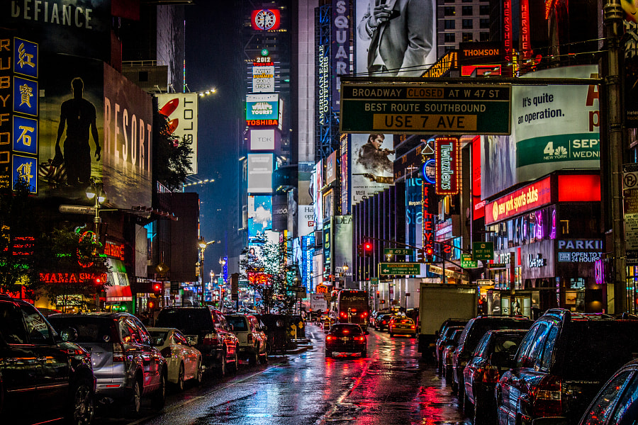 Looking down to NY Times Square at night.