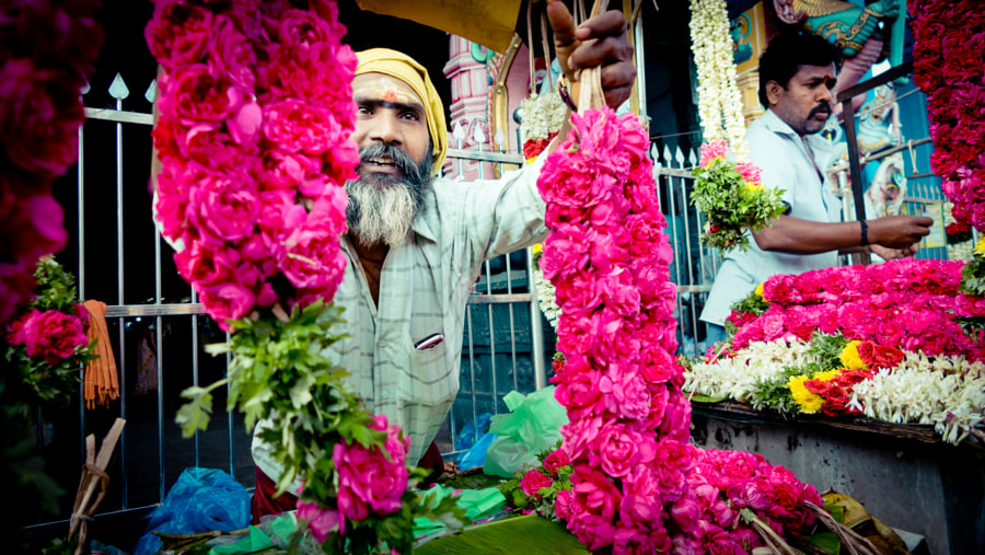 Man with Flowers near the temple Kerala YATRA 2016 by Raimond Klavins Artmif.lv on 500px.com